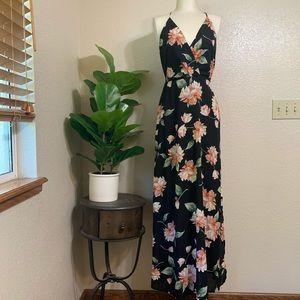 Lush | black floral maxi dress